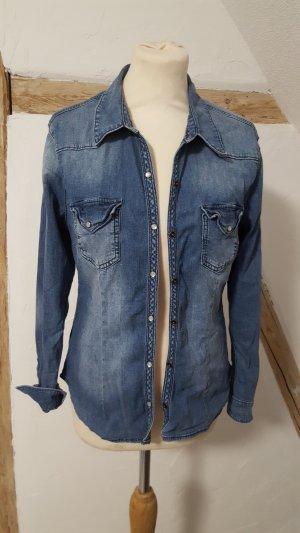 H&M Divided Damen Bluse Jeansbluse Hemd Größe 42