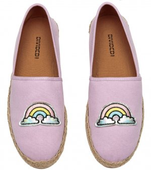 H&M Divided Espadrilles Flieder Helllila Regenbogen Statement Slipper 40