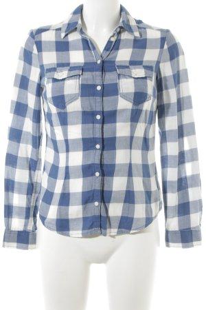 H&M Divided Flanellen hemd wit-korenblauw geruite print casual uitstraling