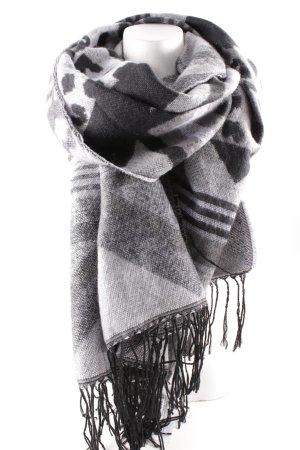 H&M Divided Sjaal met franjes grijs-zwart Patroon-mengeling dierenprint