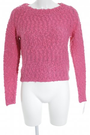 H&M Divided Grobstrickpullover pink-schwarz meliert Casual-Look