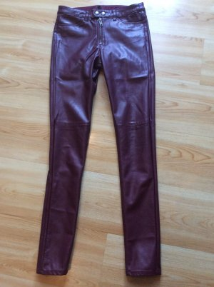 H&M Divided Imitations Leder Hose Gr 34 ungetragen bordeaux