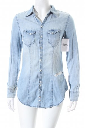 H&M Divided Jeanshemd babyblau Destroy-Optik