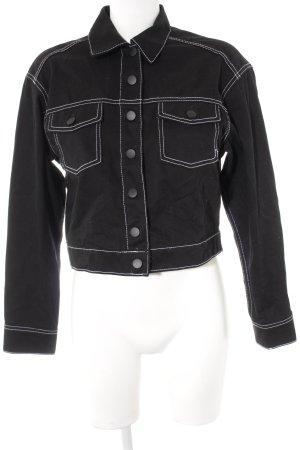 H&M Divided Jeansjacke schwarz-weiß Casual-Look