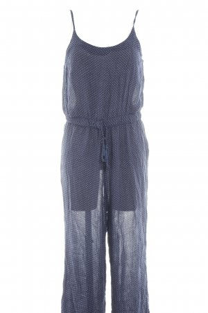 H&M Divided Jumpsuit donkerblauw-wit gestippeld patroon casual uitstraling
