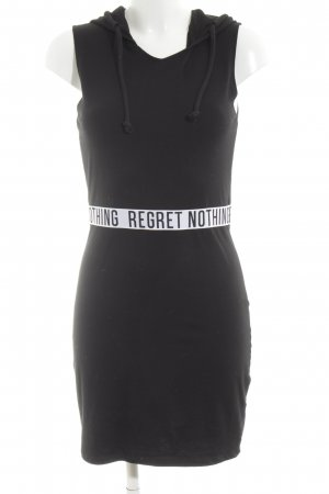H&M Divided Hooded Dress black-white printed lettering casual look