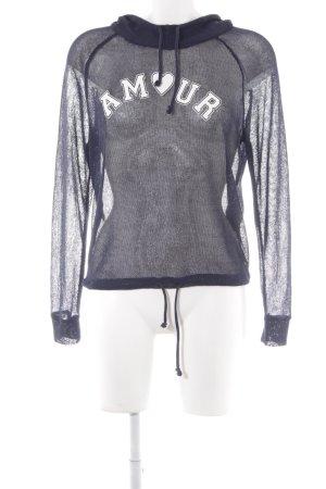 H&M Divided Kapuzenpullover dunkelblau Schriftzug gedruckt sportlicher Stil