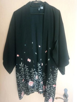 H&M divided Kimono schwarz, Rose Muster