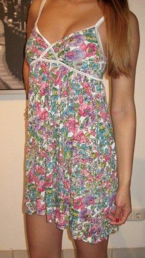 H&M Divided Kleid Gr. XS / 34 Blumen weiß pink lila Minikleid Sommer neuwertig