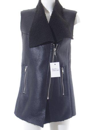 H&M Divided Kunstfellweste schwarz-silberfarben Biker-Look