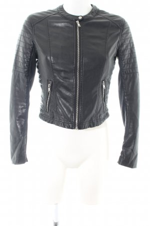 H&M Divided Faux Leather Jacket black quilting pattern casual look