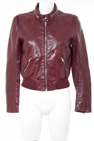 H&M Divided Kunstlederjacke bordeauxrot Glanz-Optik