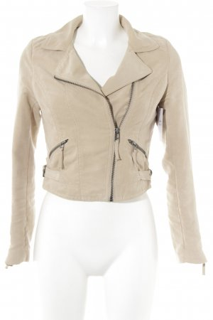 H&M Divided Faux Leather Jacket cream biker look