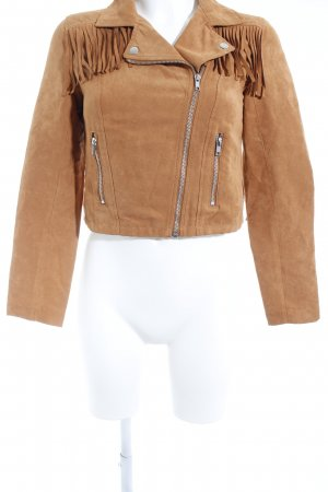 H&M Divided Faux Leather Jacket dark orange biker look