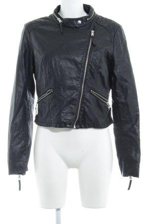 H&M Divided Jack van imitatieleder zwart Biker-look