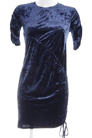 H&M Divided Kurzarmkleid dunkelblau Samt-Optik