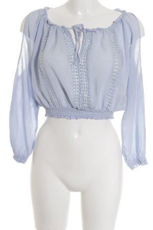 H&M Divided Langarm-Bluse himmelblau Lochstrickmuster sportlicher Stil