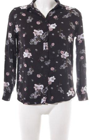 H&M Divided Langarm-Bluse schwarz Blumenmuster Casual-Look