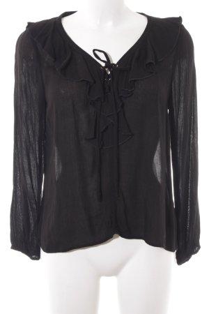 H&M Divided Langarm-Bluse schwarz Elegant