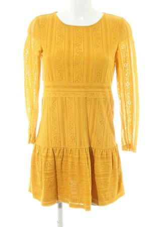 H&M Divided Langarmkleid goldorange florales Muster Hippie-Look