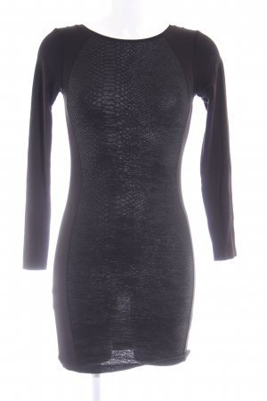 H&M Divided Langarmkleid schwarz Animalmuster Animal-Look