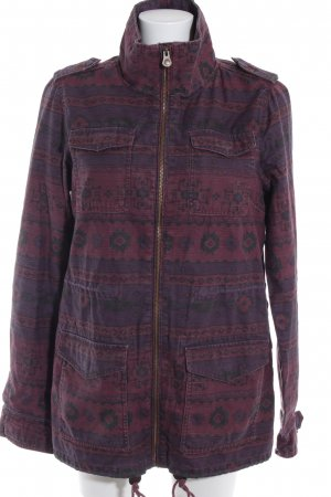 H&M Divided Lange Jacke brombeerrot abstraktes Muster Casual-Look