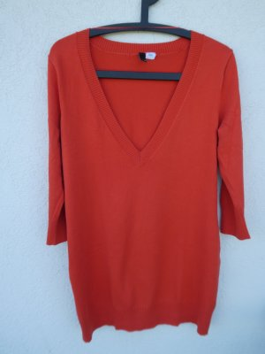 H&M Divided – langer Damen Feinstrick-Pulli, orange - Gebraucht