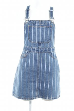 H&M Divided Pinafore Overall Skirt steel blue-white striped pattern