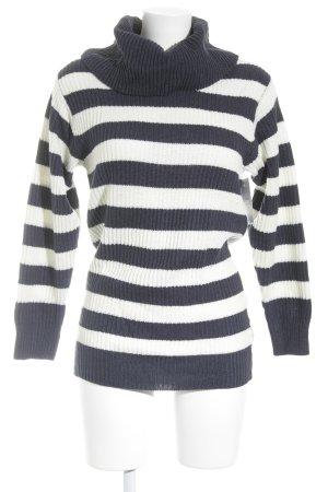 H&M Divided Longpullover dunkelblau-wollweiß Streifenmuster Brit-Look