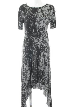 H&M Divided Maxikleid schwarz-grau abstraktes Muster Casual-Look