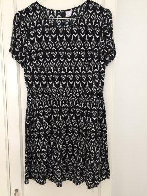 H&M Divided Midi-jurk zwart-wit