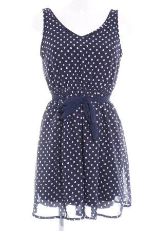 H&M Divided Minikleid dunkelblau-weiß Punktemuster Casual-Look