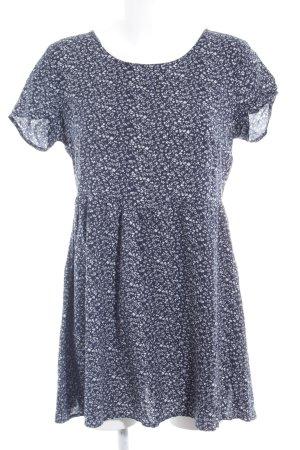 H&M Divided Minikleid weiß-dunkelblau florales Muster Casual-Look