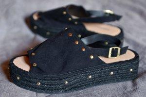 H&M Divided Platform High-Heeled Sandal black-beige imitation leather