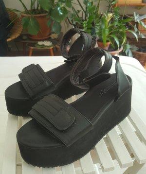 H&M Divided Sandalias con plataforma negro Imitación de cuero