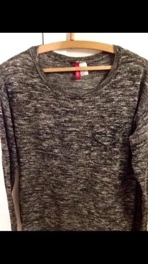 H&M divided Pullover grau meliert S Schwarz Weiß