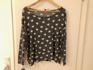 H&M Divided Pullover M 38 Oversize 36 S grau weiß Herzen Top weich