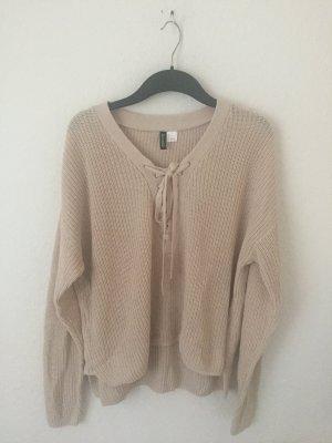 H&M Divided Pullover mit Schnürung Beige