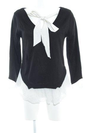 H&M Divided Jersey Twin-Set negro-blanco estilo romántico