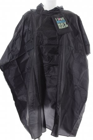 H&M Divided Rain Poncho black printed lettering street-fashion look