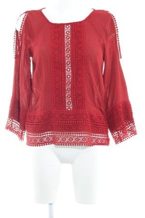 H&M Divided Blusa con volantes rojo oscuro elegante