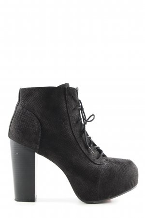 H&M Divided Lace-up Booties black extravagant style