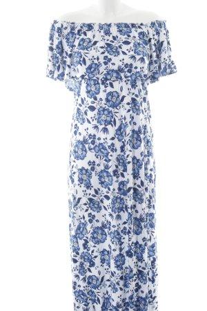 H&M Divided schulterfreies Kleid blau-weiß Blumenmuster Beach-Look