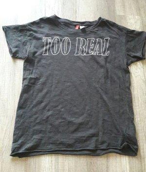 H&M Divided Shirt Statement T-Shirt Ausbrener Acid Wash Too real