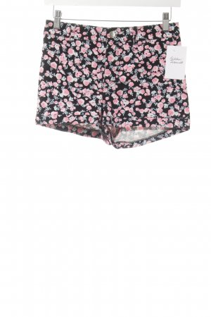 H&M Divided Shorts schwarz-pink Blumenmuster Casual-Look