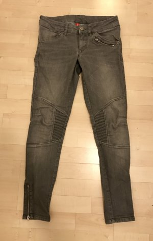 H&M Divided Skinny Jeans grau 36 / S Biker Reißverschluss Hose sexy low Slim