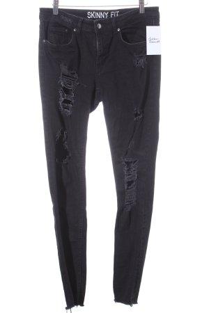 H&M Divided Skinny Jeans schwarz Destroy-Optik