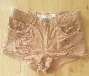 H&M Divided Skinny Regular Waist Jeans Shorts Beige Braun Vintage Fransen Löcher Festival Sommer XS S 34 36