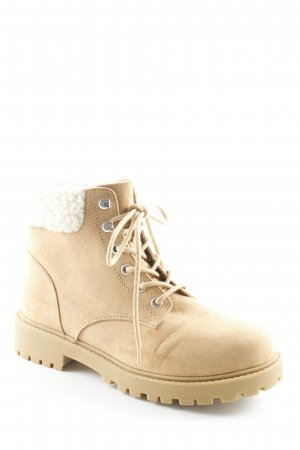 H&M Divided Snowboots hellbraun-beige Materialmix-Look