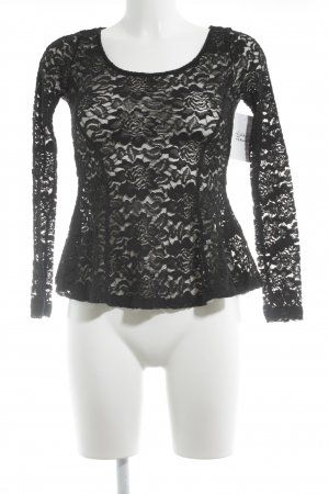 H&M Divided Spitzenbluse schwarz florales Muster Party-Look